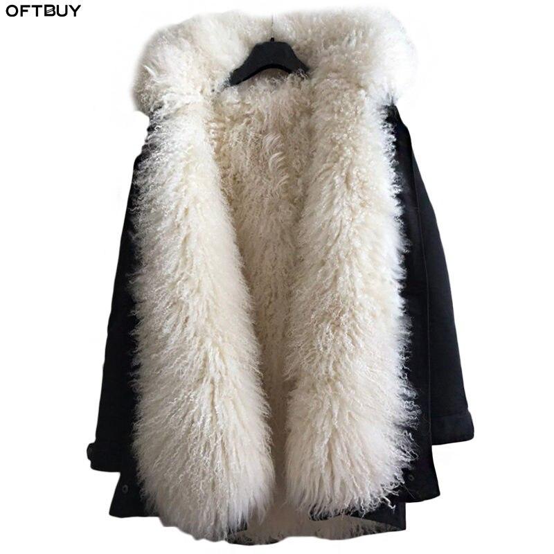 Oftbuy 2019 longo parka jaqueta de inverno feminino casaco de pele real natural mongólia ovelha pele grossa quente parkas capa plus size streetwear