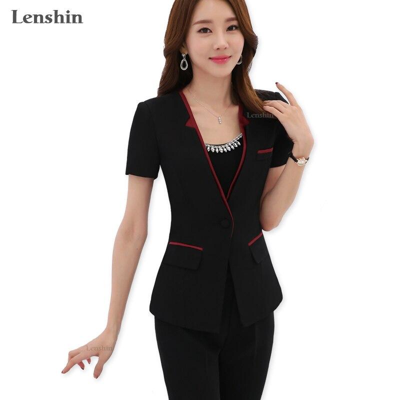2 kusy sada kalhoty letní oblečení kontrastní límec V-výstřih formální uniformní styl ženy kancelář dámská pracovní bunda s kalhotami