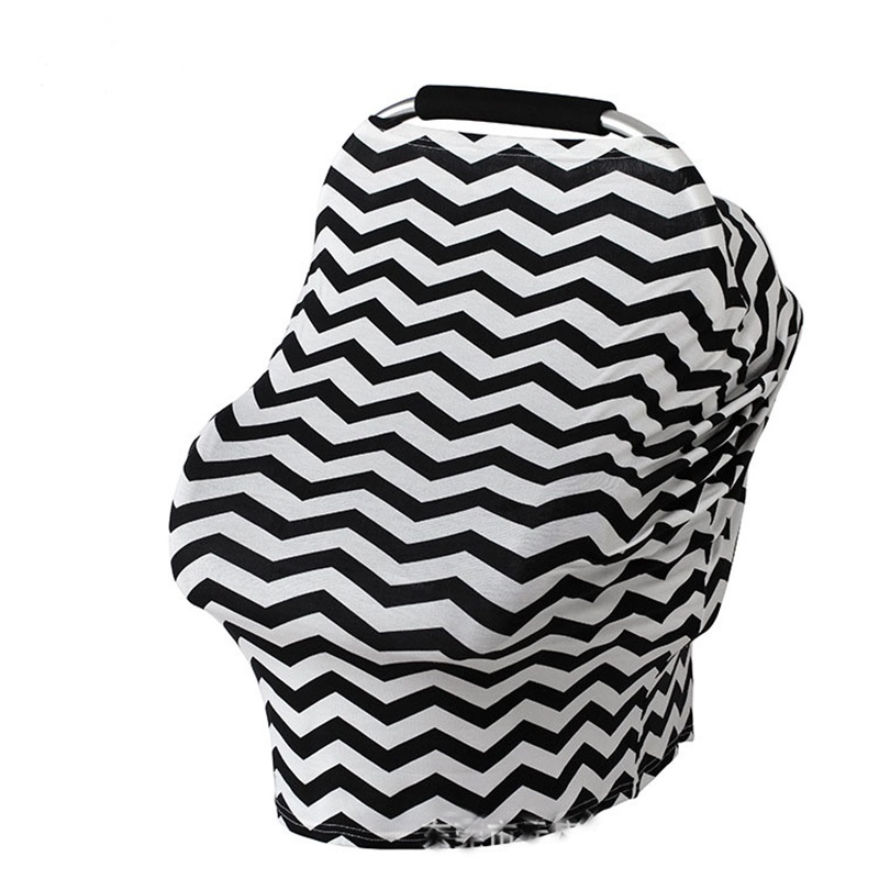 Nursing Breastfeeding Cover Scarf 100% Cotton Soft Breathable Baby Car Seat Canopy Striped Carseat Covers for Girls and Boys