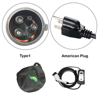EVSE Electric car Charger Type 1 with American wall socket input 5.5M cable level 2 AC 110V 250V 8A/10A/13A/16A