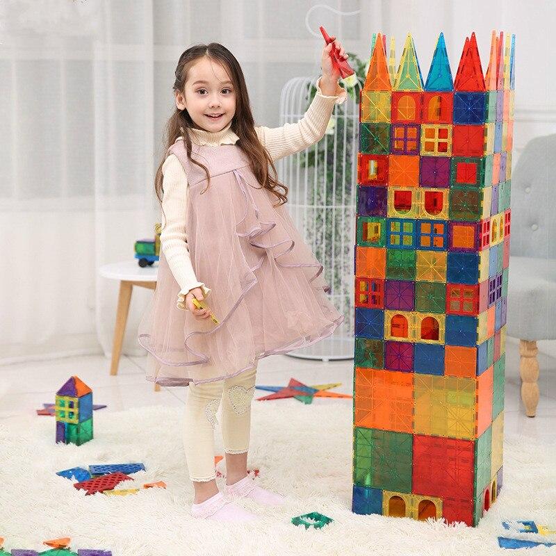 Children's Color Window Magnetic Chip Manual DIY  Building Piece  Magnet Blocks Magnet Tiles Kids Magnetic  Construction Toys