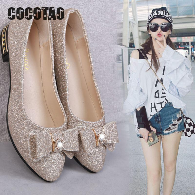 Single Shoe Women's Summer 2019 Korean Version Low-heeled Baitao Butterfly Knot Shoes Shallow Sequined Flat-soled Leisur14