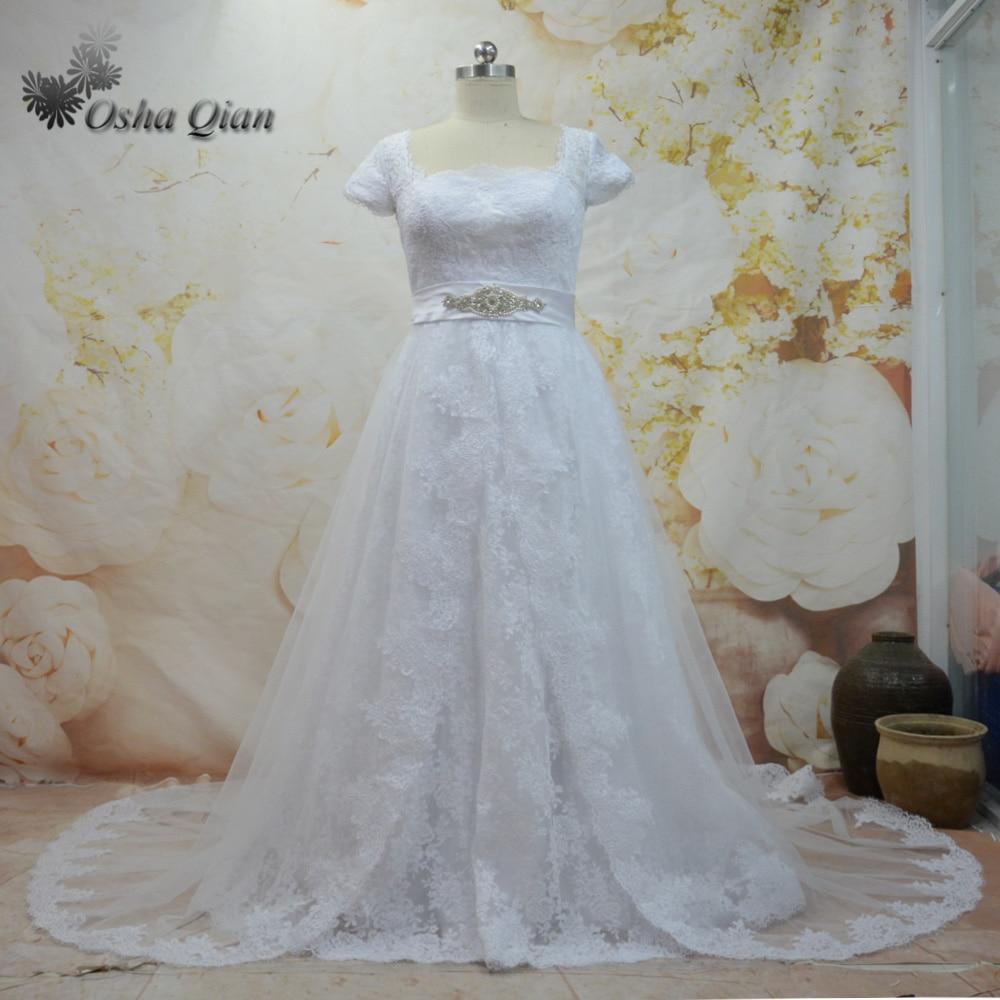 Vintage Two Piece Detachable Skirt Wedding Dress Lace Vestido de ...