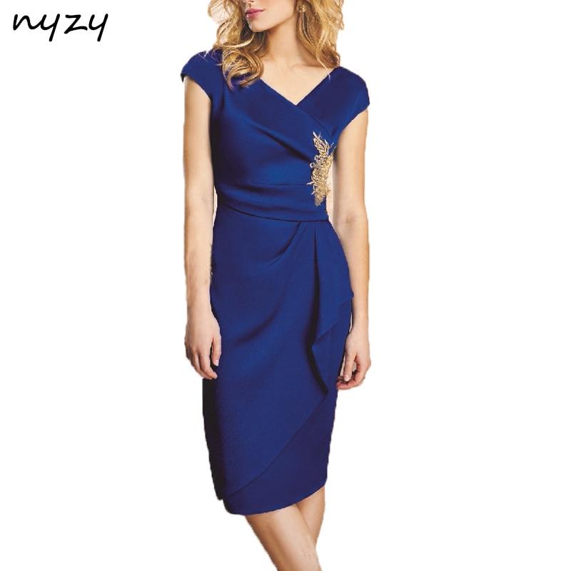 NYZY C24 Simple Elegant Knee Length   Cocktail     Dresses   Cap Sleeve Royal Blue Satin Wedding Party Guest Wear Formal   Dress   2019