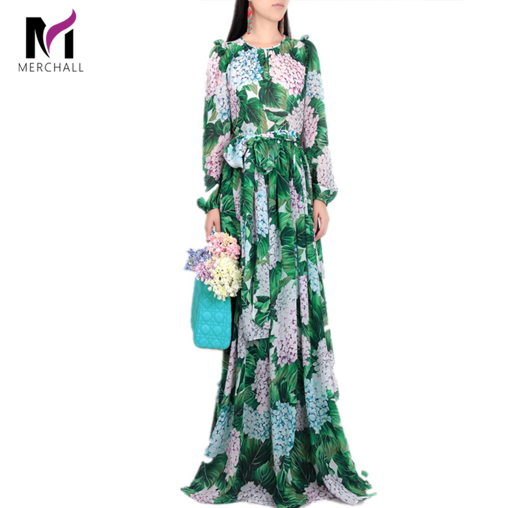 New 2019 Runway Hydrangea Floral Fall Dress Women Green Leaves Flower Print Diamond Buttons Ankle-Length Pleated Chiffon Dresses