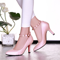 2016 Sexy Ladies Women Pumps PU Leather Pointed Toe Thin Heels Women Shoes Pearl Chains Shallow Mouth Women Shoes
