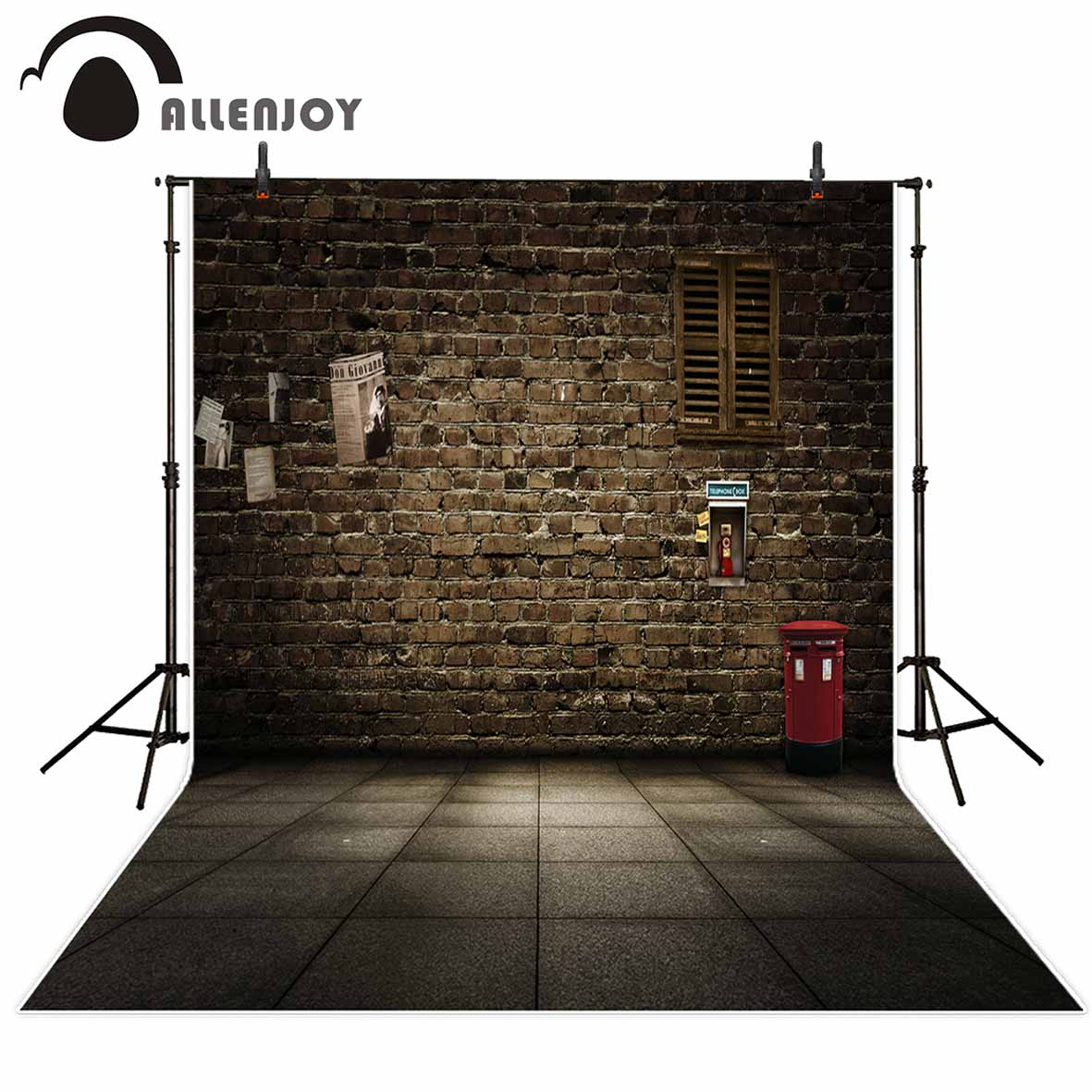 Allenjoy Brown brick wall vintage wooden window mailbox poster kids backgrounds for photo studio photo booth backdrop allenjoy photography backdrops neat wooden structure wooden wall wood brick wall backgrounds for photo studio