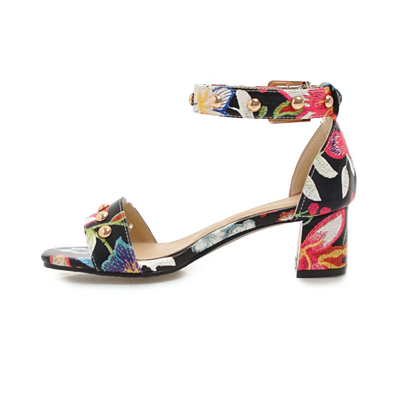 Mujeres Flores Mujer De 33 Zapatos Rojo Karinluna Negro Sandalia Nvn08mwO