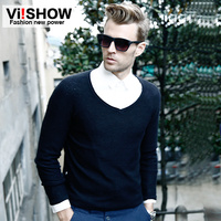 New Arrival 2014 Spring V Neck Male Sweater Solid Color Slim Long Sleeve Men Sweater Free