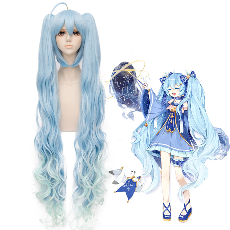 Top Quality Japanese Vocaloid Anime Hatsune Miku Cosplay Wigs Princess Long Curly Synthetic Hair Chip Ponytails + Free Wig Cap