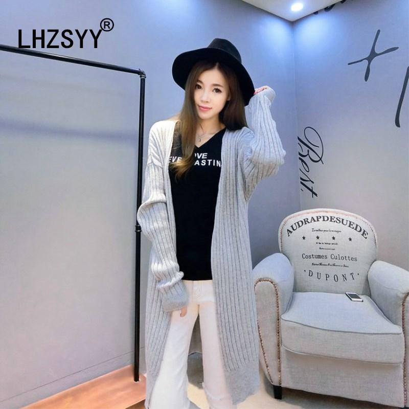 LHZSYY Autumn and Winter Long Fashion Cashmere Sweater Vertical strip Wild Cardigan Slim High-Grade Thick Women Sweater Cardigan newborn 2017 autumn and winter new girl cartoon plus cashmere cardigan women baby out jackets thick dress princess dress533