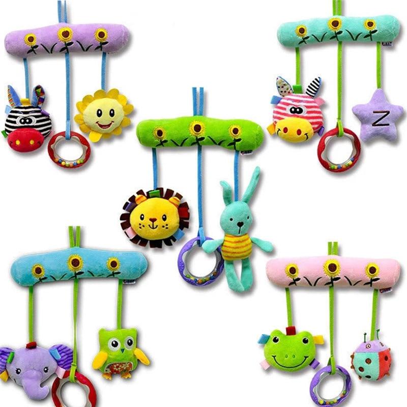 Mignon bébé jouets doux Musical nouveau-né enfants jouets Animal bébé Mobile poussette jouets en peluche jouant poupée Brinquedos Bebes en gros