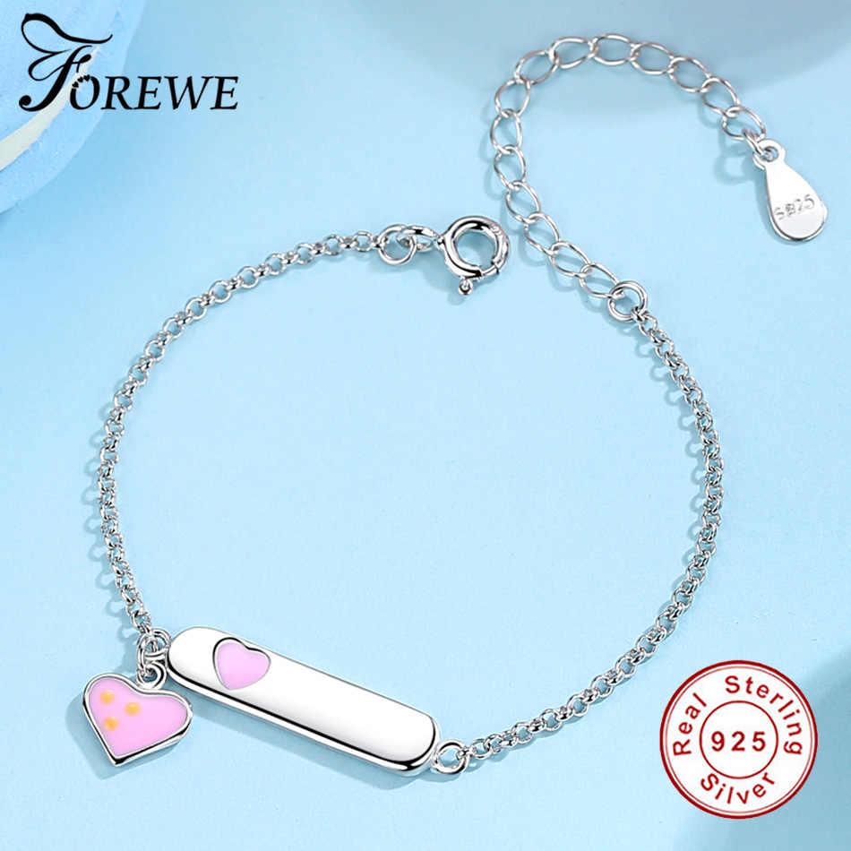 2ec951dd4598b FOREWE Personalized Engrave Name ID Bracelet For Children Kids Baby Pink  Enamel Heart & 925 Sterling Silver Bracelet Customize