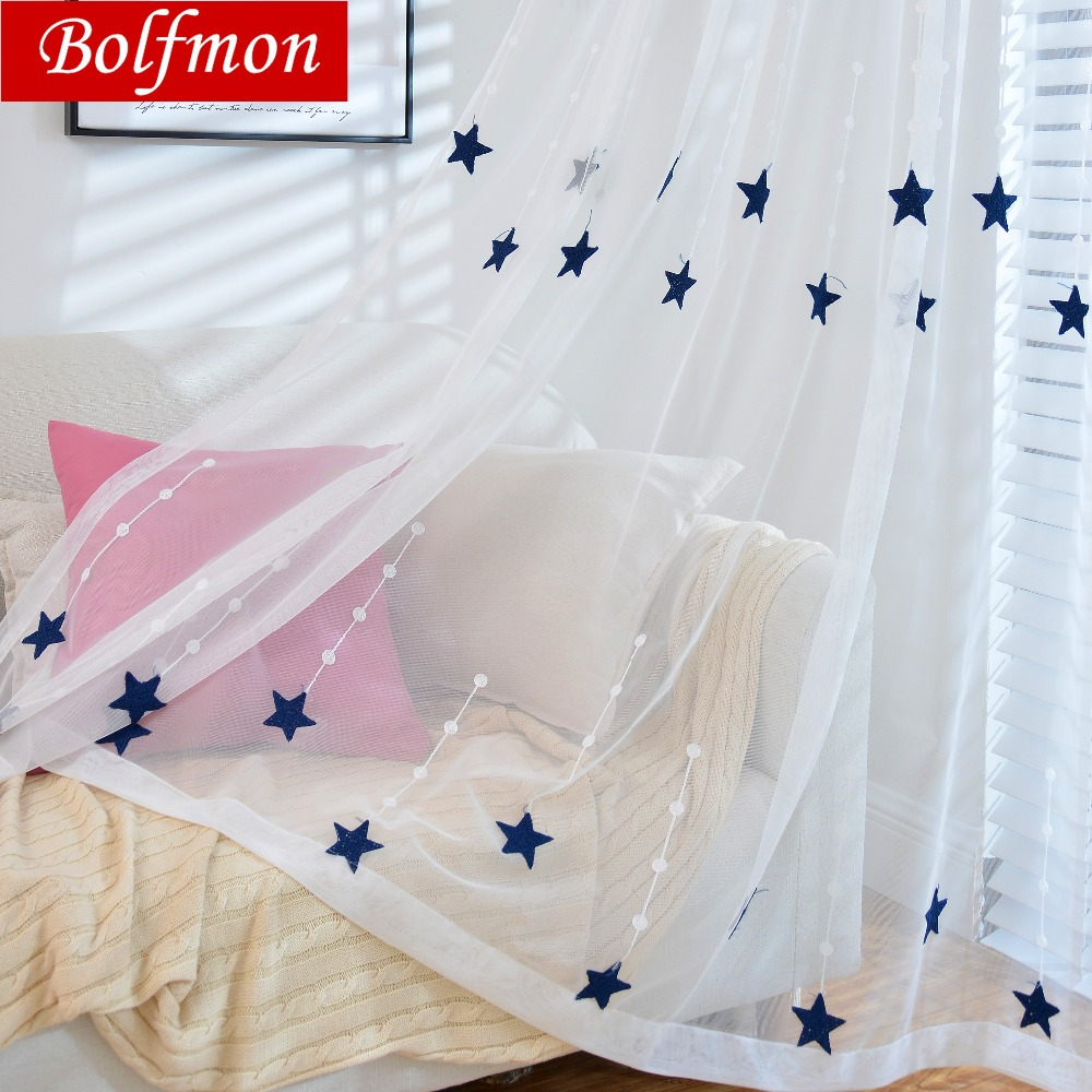 Yellow/Navy Stars Embroidered Voile Curtains For Living
