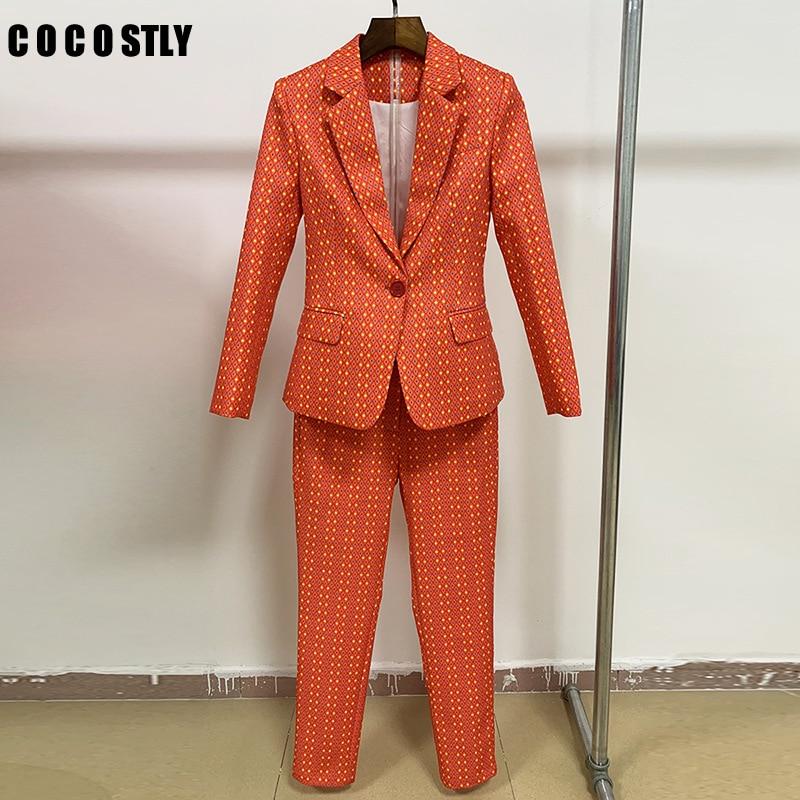 Two Piece Pants Suit Women Office Lady Floral Single Button Blazer Jacket + Printed Feet Pants Women Suits Two Piece Blazer Sets