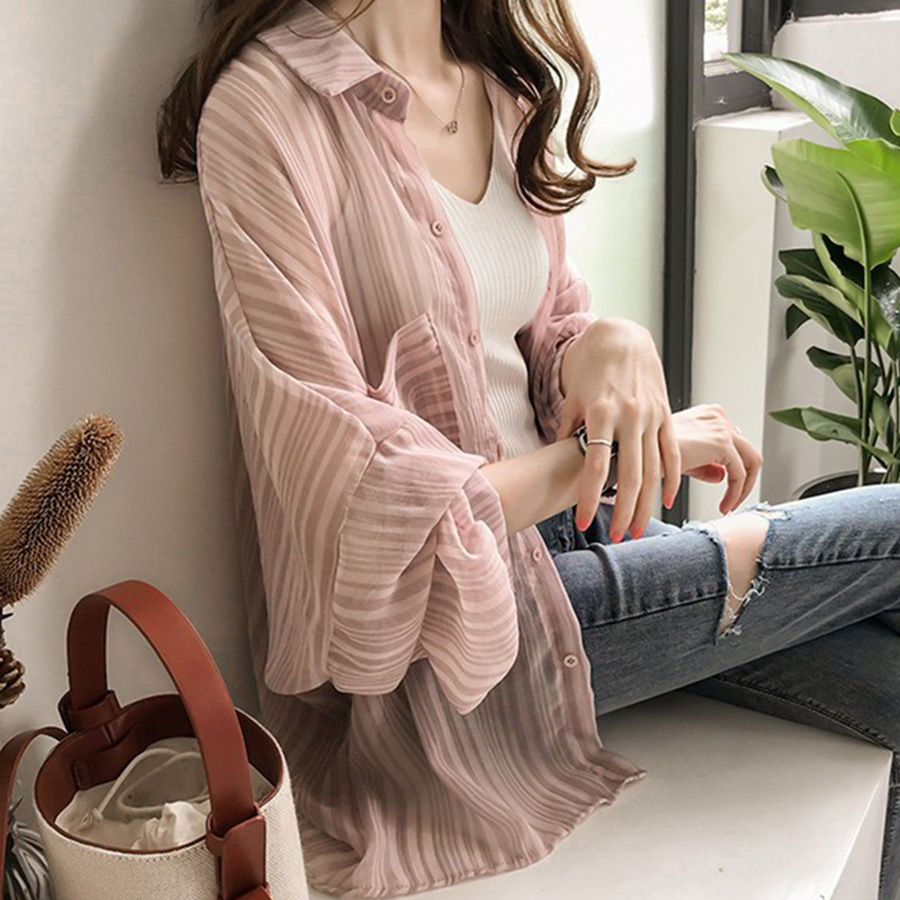 blouses   woman 2019 loose lantern sleeves striped   blouse   women chiffon cardigan sunscreen   blouse     shirt   jacket women tops