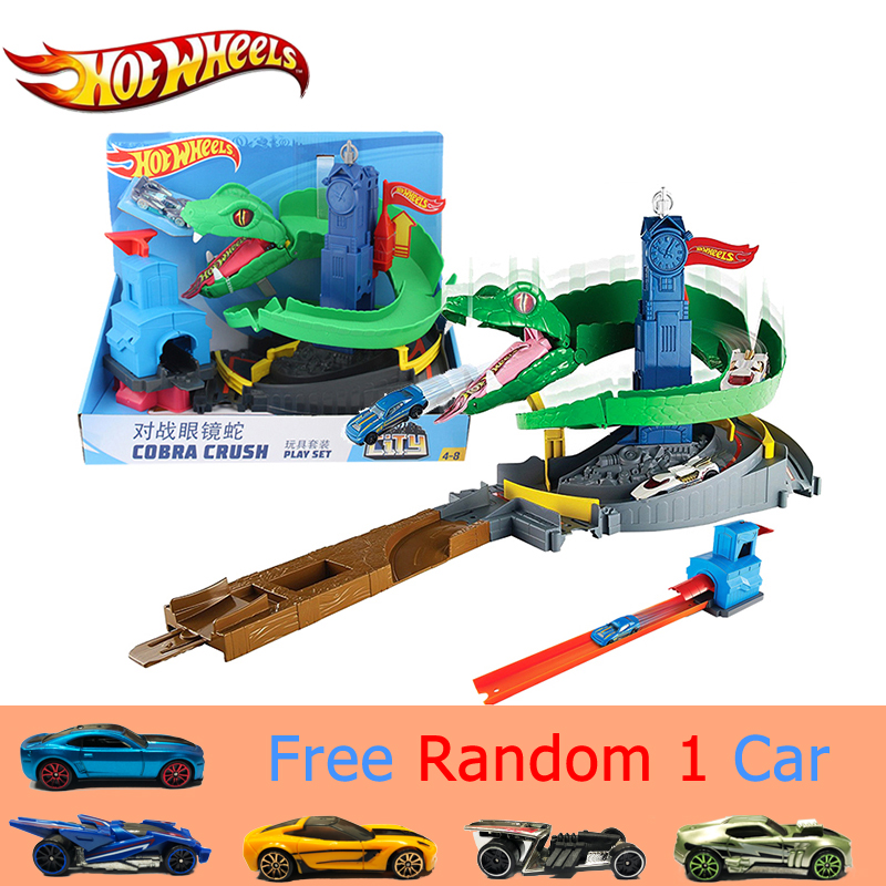 Hot Wheels Battle Track Toy Snake Castle 2018 Newest Toy FNB20 Cobra Crush Children's Funny Car Brinquedos Assembly Track