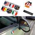Car Styling 3D Aluminum Universal England Italy Germany France USA Polygon Shield Flag Car Sticker National Badge Emblem