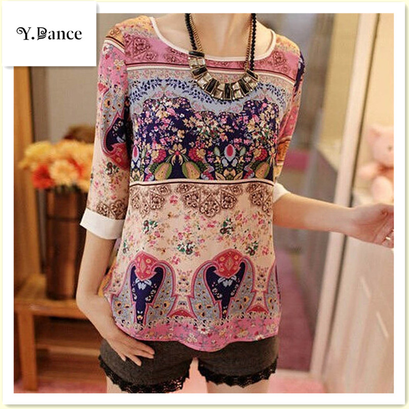 Sell like hot cakes Womens Korean Elegant Floral Three Quarter Puff Sleeve Shirt Floral Top Girl Casual Slim Blouse Size S-XXL