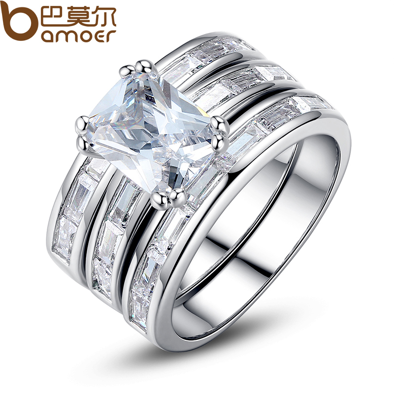 BAMOER Silver Color Bridal Set Finger Ring for Ladies Women with Paved Micro Cubic Zircon Crystal Jewelry Wedding YIR030