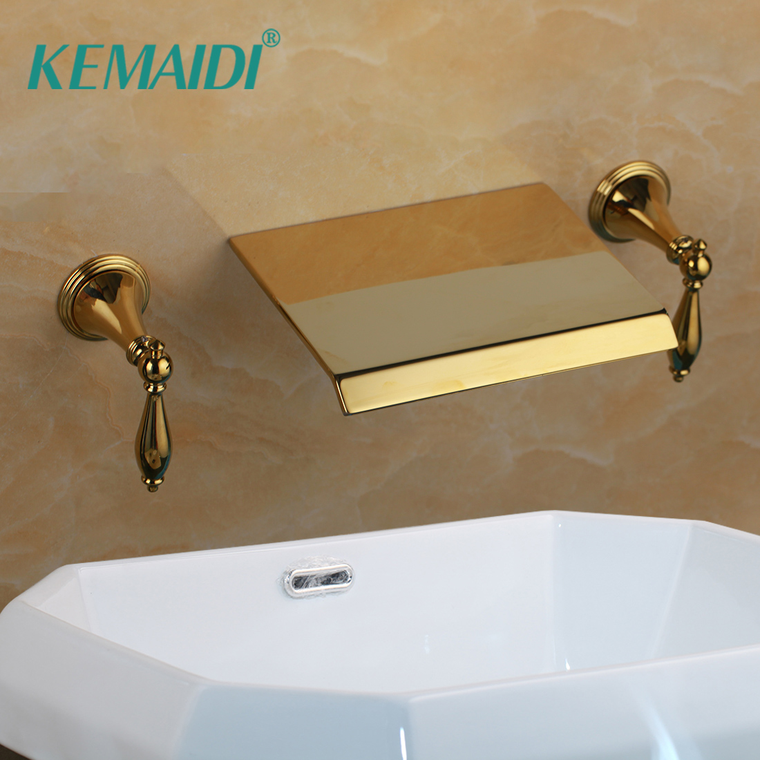 KEMAIDI Bathtub Faucet Waterfall Spout Deck Support Mixer Tap Hot and Cold Water Ceramic Valve Faucet 3 pcs Golden Faucets