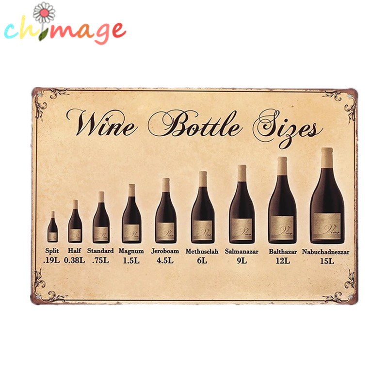 WINE BOTTLE SIZES Vintage Tin Sign Bar pub home Wall Decor Retro ...