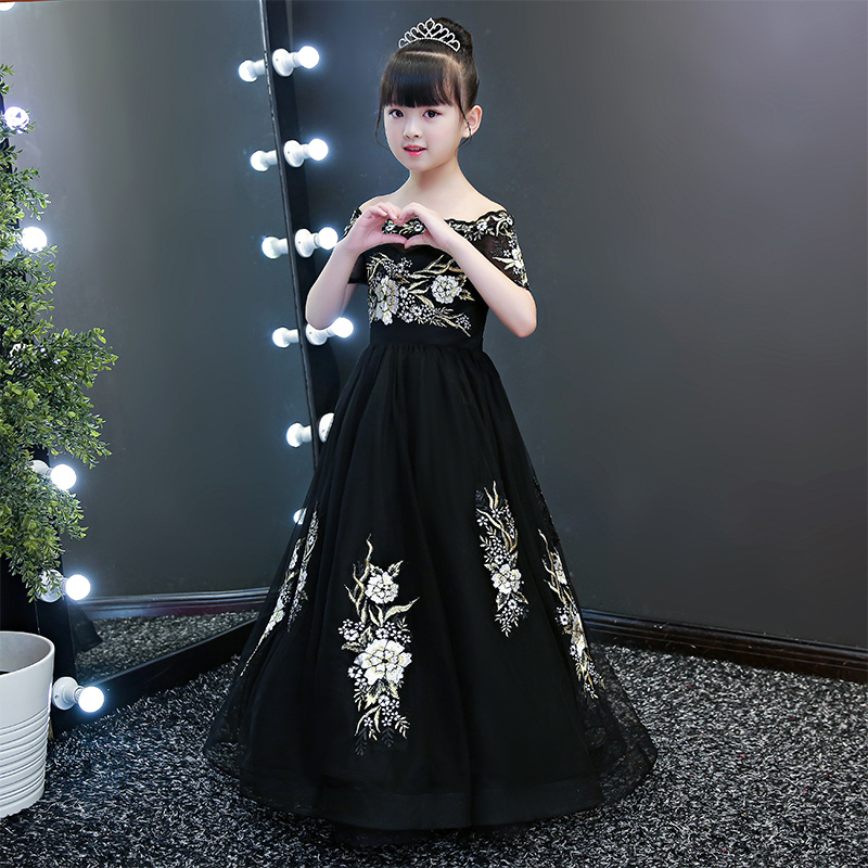 d6507ca48 2019 new teenage girl dresses long formal prom gown for kids girls clothing  wedding party tutu