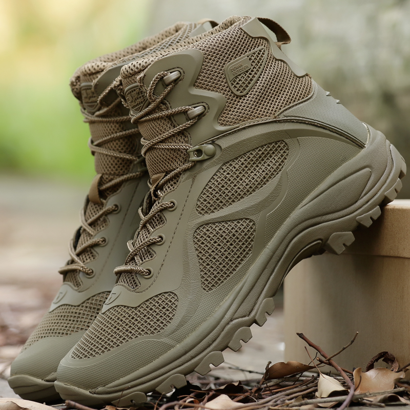 High-quality Sports Breathable Mesh Hiking Shoes Men Military Tactical Combat Boots Army Desert Training Hunting Climbing Shoes