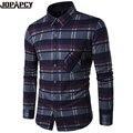 Outono Inverno Xadrez Grosso Camisas Dos Homens Turn-down Collar Manga Comprida Blusa Masculina Casual Camisa Masculina de Algodão Quente MXB0320