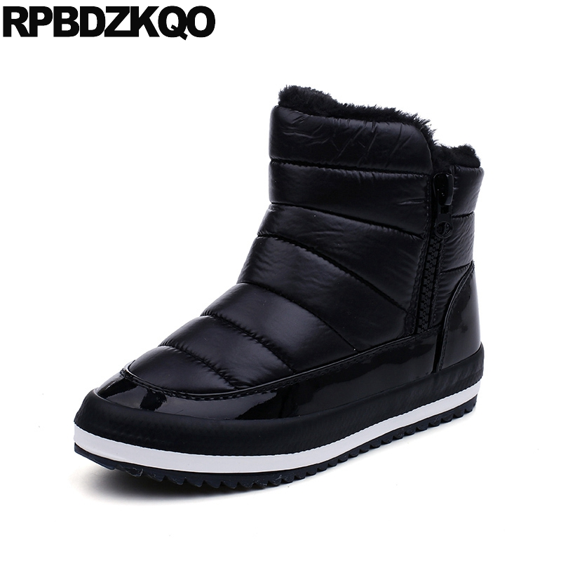 Fur Round Toe Women Ankle Boots 2016 Booties Black Shoes Warm Winter Flat 2017 Short Cheap New Fashion Chinese Ladies Female veowalk winter warm fur women short ankle boots cotton embroidered ladies casual canvas 5cm heels wedge platform booties shoes