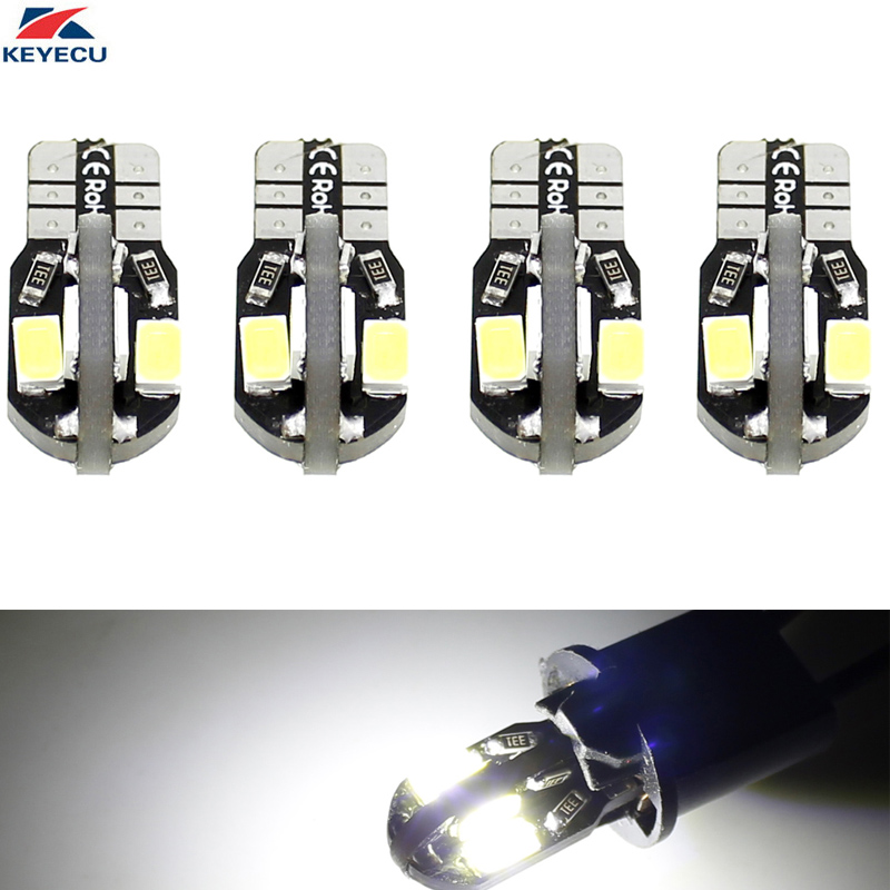 KEYECU 4 Pack White W5W T10 8SMD 5730 Chips Car Interior and Exterior Led Bulb Replacement for Map Dome Courtesy License Plate
