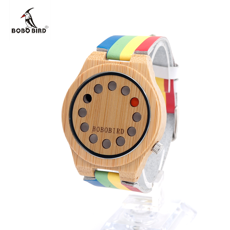 BOBO BIRD Men s Leather Band font b Watches b font Bamboo Wood Wristwatches Male Luxury