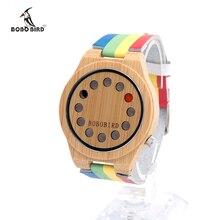 BOBO BIRD hombres Banda de Cuero Relojes Relojes de Pulsera Hombres de Lujo De Reloj De Madera De Madera De Bambú como Regalos A01