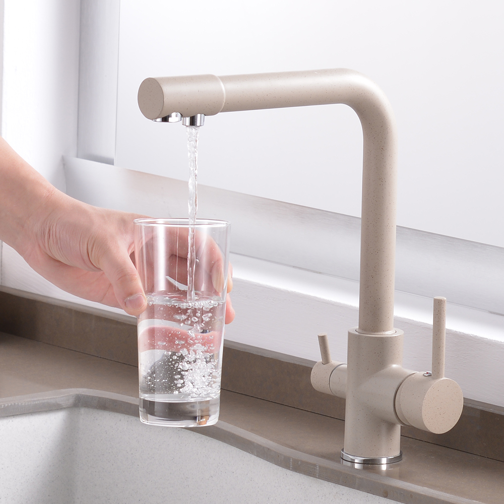 Kitchen Filtered Faucet Water with Dot Brass Purifier Faucet Dual Sprayer Drinking Water Tap Vessel Sink