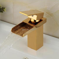 Solid Brass Golden Waterfall Faucets Bathroom Basin Mixer Taps Gold Color Deck Mounted Hot and Cold Water Faucet ZR502