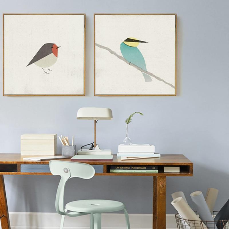 Emin hayat sevimli kuşlar robin arı kuşu tuval boyama posterler ve - Ev Dekoru - Fotoğraf 4