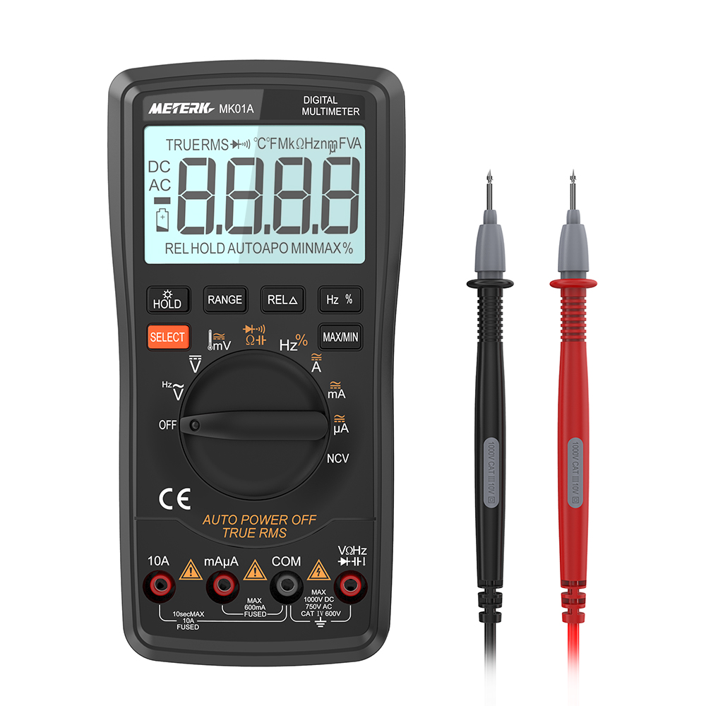 Digital Multimeter DMM Voltmeter Ammeter DC AC Voltage Current Meter Resistance Diode Capacitance Frequency Temperature Tester