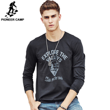 Pioneer Camp Autumn Mens Long Sleeve Fashion T Shirt Cotton Elastic Casual T-Shirt Male Dark Blue O-Neck Men Clothing 699009