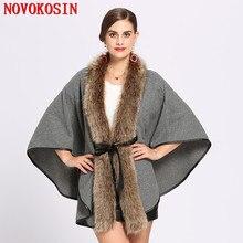 SC214 Faux Cashmere Thick Tie Coat Winter Long Raccoon Fur Neck Cardigan Poncho Warm 2018 Women Casual Loose Pashmina