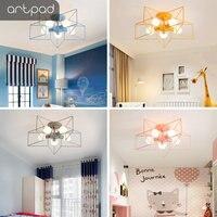 Artpad Modern Star Ceiling Lights For Kids Room Living Room Bedroom Lighting E27 LED Kitchen Ceiling Lamp Pink Black White Gold