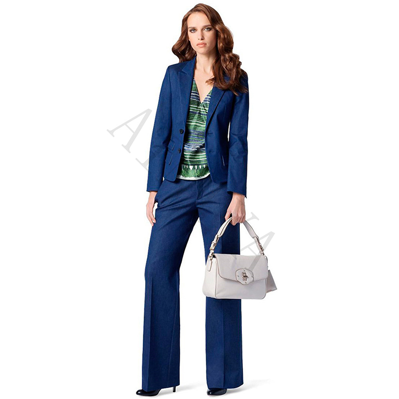 Lake Blue Womens Business Suits 2 Pieces Sets Formal Ol Ladies Trouser Suit Two Buttons Female Office Uniform Work Wear Custom