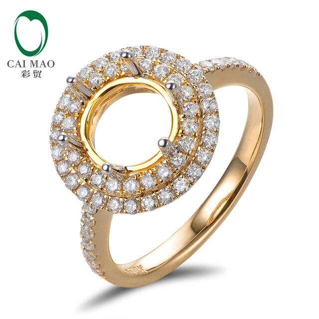 Бесплатная доставка Классический 8 мм Круглый Природный 0.54ct 14kt желтое Золото Dimaond Обручальное Маунт Semi Кольцо для Обручальных