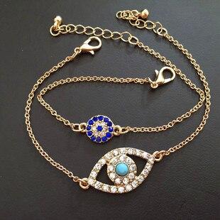 KUNIU Jewelry Women Bracelet Set New 2 In 1 Set Rhinestone With Turkey Blue Evil Eye Charm Faith Jewelry