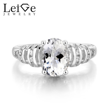 Leige Jewelry Natural White Topaz Ring Promise Ring November Birthstone Ring Oval Cut Gemstone 925 Sterling Silver Ring for Lady