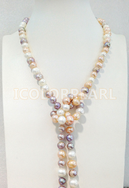 125CM Long 8-9MM Multicolor Nearround Natural Freshwater Pearl Sweater ecklace. Elegant Jewelry Gift For All Girls!