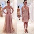 2 peça Mulheres Vestidos de Baile Vestido de noiva vestido de Noite Com Decote Em V Lace Apliques de Cristal vestido de Baile de Organza Partido Vestidos de Noite Formal