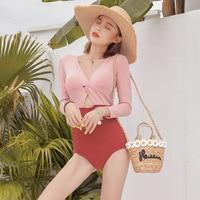 Women Swimwear 2019 One Piece Bikini Plus Size Thong Swimsuit Summer Korean Long Sleeve Retro Sexy Chic New Tripod Solid Linen