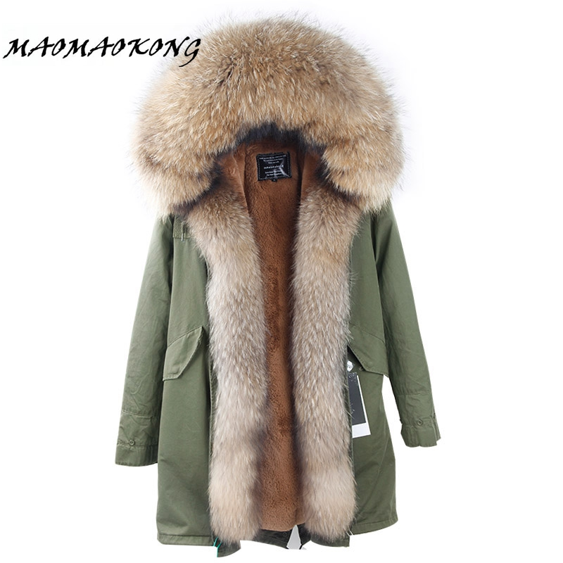 New Arrival Fur Parka 2017 Brand Long Women Winter Coat Real Raccoon Fur Jacket Luxury Large Detachable Collar Parka Femme 2017 winter new clothes to overcome the coat of women in the long reed rabbit hair fur fur coat fox raccoon fur collar