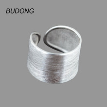 BUDONG Genuine 925 Sterling Silver Rings for Women 2017 Fashion Simple Wide Finger Band Open Cuff Adjustable Ring Fine Jewelry