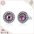 Мода известный бренд розовый камень подлинный стерлингового серебра 925 малых бриллиант-линия наследие серьгу